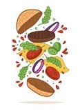 Vector illustration. Flipping burger. Cartoon flat style. Food levitation. American Cuisine stock illustration