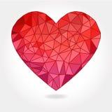 Geometric Triangle Heart. A vector illustration of a floating geometric triangle facet heart on a light gray background stock illustration
