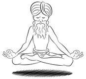 Floating meditating yogi. Vector illustration of a floating and meditating yogi Royalty Free Stock Photos