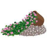 Vector illustration of floral arrangement in pot. Vector colorful illustration of floral arrangement in pot Stock Photo