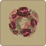 Vector illustration. Floral background with roses, hand-drawing. Stock Photo
