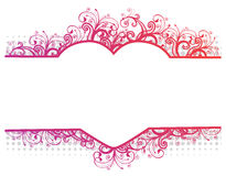 Vector illustration of a floral border with heart. Vector illustration of a floral pink border with heart royalty free illustration