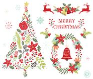 Floral Christmas Tree Ornament royalty free illustration