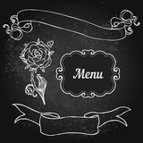 Vector illustration of floral design on blackboard Stock Photos