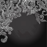 Vector illustration of floral design on blackboard Royalty Free Stock Image