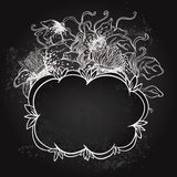 Vector illustration of floral design on blackboard Royalty Free Stock Photography