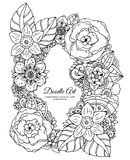 Vector illustration , floral frame. Doodle drawing. Coloring book anti stress for adults. Meditative exercises. Black. And white Stock Photo