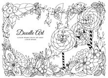Vector illustration of floral frame . Dudlart. Coloring book anti stress for adults. Black white. Stock Photos