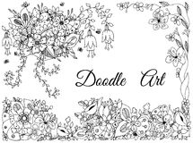 Vector illustration of floral frame zen tangle, doodling Stock Image