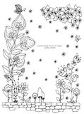 Vector illustration of floral frame Zen Tangle. Dudlart. Coloring book anti stress for adults. Black white. Stock Photos