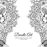 Vector illustration of floral frame Zen Tangle. Dudlart. Coloring book anti stress for adults. Black white. Stock Image