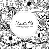 Vector illustration of floral frame Zen Tangle. Dudlart. Coloring book anti stress for adults. Black white. Royalty Free Stock Photos