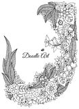 Vector illustration of floral frame Zen Tangle. Dudlart. Coloring book anti stress for adults. Black white. Stock Images
