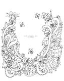 Vector illustration of floral frame Zen Tangle. Dudlart. Coloring book anti stress for adults. Black white. Royalty Free Stock Photography