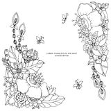 Vector illustration of floral frame Zen Tangle. Dudlart. Coloring book anti stress for adults. Black white. Royalty Free Stock Images