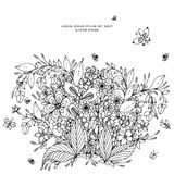 Vector illustration of floral frame zentangle, doodling. Zenart, doodle, flowers, butterflies, delicate, beautiful. Black white. Royalty Free Stock Photography