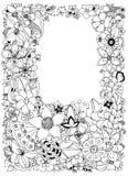 Vector illustration of floral frame zentangle, doodling. Zenart, doodle, flowers, butterflies, delicate, beautiful Royalty Free Stock Image