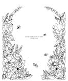 Vector illustration of floral frame zentangle, doodling. Zenart, doodle, flowers, butterflies, delicate, beautiful Royalty Free Stock Photos