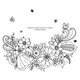 Vector illustration  floral frame zentangle, doodling. Zenart, doodle, flowers, butterflies, delicate, beautiful. Black and white. Royalty Free Stock Image