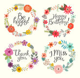 Vector illustration Floral hand drawn set. Royalty Free Stock Photo