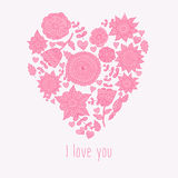 Vector illustration of floral heart and text I love You. Stock Images