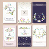 Vector illustration of a floral invitation card set Royalty Free Stock Photo
