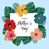 Vector Mother`s Day Card With Tropical Flowers Stock Image
