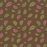 Vector illustration of a floral pattern with leaves. Pink, brown, yellow, green, warm colors. Vector illustration of a floral pattern with leaves. Scrapbook Stock Images