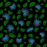 Vector illustration of a floral pattern with palm leaves. Black background, green and blue/. Vector illustration of a floral pattern with palm leaves. For Royalty Free Stock Photo
