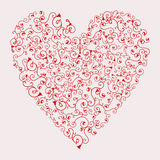 Vector illustration of floral red valentine hear. T on light pink background stock illustration