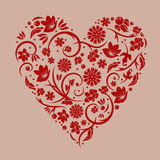 Vector illustration of floral red valentine heart. Isolated on light red background stock illustration