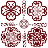 Vector illustration: floral round vignette set Royalty Free Stock Images