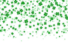 Vector illustration of floral seamless border with four leaved green clover Stock Image