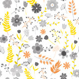 Vector illustration of floral seamless. Isolated colorful flower. S and leaves on white background Royalty Free Stock Photography