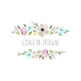 Vector illustration of a floral set with signature Stock Image
