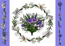 Vector illustration.Floral template of easter floral bunch, wreath of lilies and crocuses and borders isolated on white stock illustration