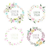 Vector illustration of a floral wreath set Stock Image