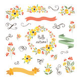 Vector illustration of floral wreath. Stock Photo