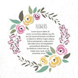 Vector illustration of floral wreath template in flat design sty Royalty Free Stock Image