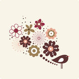 Vector illustration of flower and bird Royalty Free Stock Photo