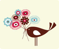 Vector illustration of flower and bird Stock Photo