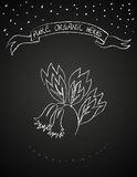 Chalk flower on blackboard Stock Image