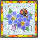 Vector illustration of flower blue forget-me-not. Vector illustration of flower blue forget-me-not with ladybird stained glass window with frame Stock Image