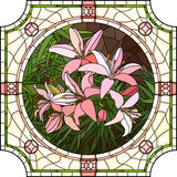 Vector illustration of flower pink lilies. Stock Photo