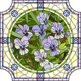 Vector illustration of flower purple pansies. Royalty Free Stock Images