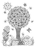 Vector illustration on a flowering tree and butterflies have settled rabbit watches them. The work Made in manually. Book Coloring Royalty Free Stock Photo