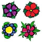 Vector illustration of flowers. Vector illustration of different colored flowers Royalty Free Stock Photography