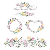 Vector illustration of flowers and flower wreaths set in flat de Royalty Free Stock Image