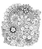 Vector illustration , flowers, mushroom Doodle drawing. Meditative exercise. Coloring book anti stress for adults. Black. And white Royalty Free Stock Photos