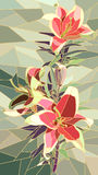 Vector illustration of flowers pink lily. Stock Photos